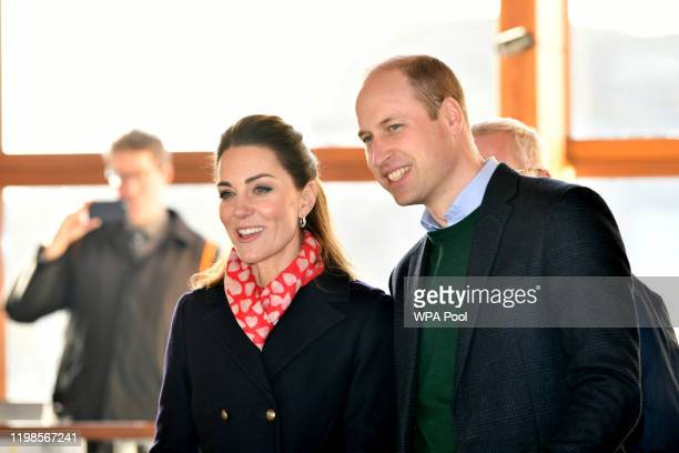 Prince William, Duke of Cambridge and Catherine, Duchess of Cambridge during a visit to the RNLI Mumbles Lifeboat Station on February 04, 2020 near...