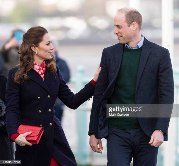 Prince William, Duke of Cambridge and Catherine, Duchess of Cambridge visit the Royal National Lifeboat Institution Mumbles Lifeboat station, which...