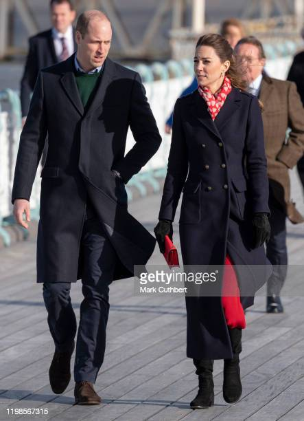 Prince William Duke of Cambridge and Catherine Duchess of Cambridge visit the Royal National Lifeboat Institution Mumbles Lifeboat station which is...