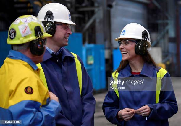 Prince William Duke of Cambridge and Catherine Duchess of Cambridge visit Tata Steel on February 04 2020 in Port Talbot Wales