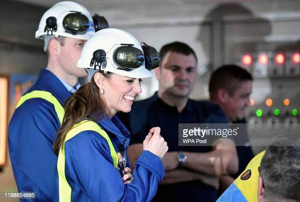 Prince William Duke of Cambridge and Catherine Duchess of Cambridge visit the control centre at Tata Steel on February 04 2020 in Port Talbot Wales