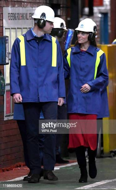 Prince William Duke of Cambridge and Catherine Duchess of Cambridge walk during a visit to Tata Steel on February 04 2020 in Port Talbot Wales