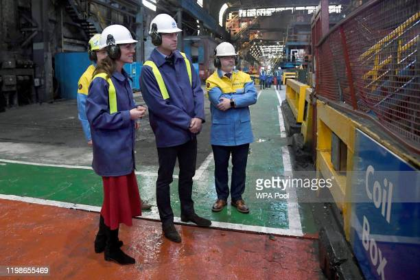 Prince William Duke of Cambridge and Catherine Duchess of Cambridge watch the mill operations with Hub Director Martin Brunnock and Works Manager...