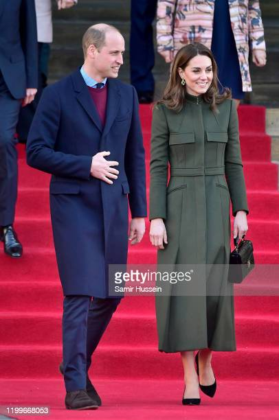 Prince William, Duke of Cambridge and Catherine, Duchess of Cambridge leave after their visit to City Hall in Bradford's Centenary Square, on January...