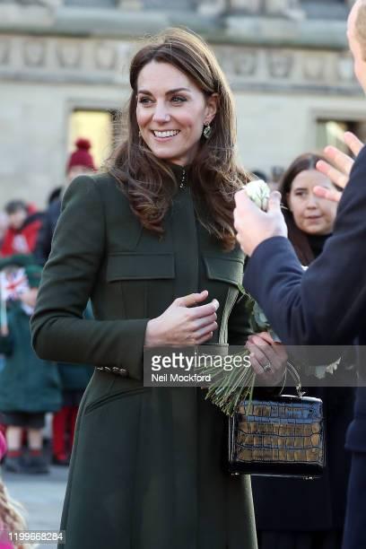 Prince William Duke of Cambridge and Catherine Duchess of Cambridge depart City Hall Bradford on January 15 2020 in Bradford United Kingdom