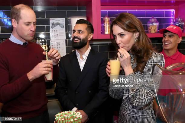Prince William Duke of Cambridge and Catherine Duchess of Cambridge help make Kulfi milkshakes at MyLahore on January 15 2020 in Bradford United...