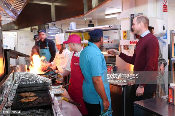Prince William Duke of Cambridge and Catherine Duchess of Cambridge take a tour around the kitchen of MyLahore's flagship restaurant on January 15...