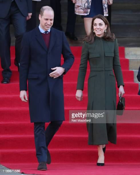 Prince William Duke of Cambridge and Catherine Duchess of Cambridge depart City Hall Bradford on January 15 2020 in Bradford United Kingdom