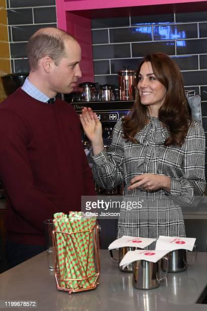 Prince William, Duke of Cambridge and Catherine, Duchess of Cambridge help make Kulfi milkshakes with students on a kitchen apprenticeship scheme at...