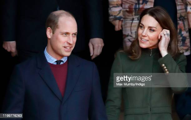 Prince William, Duke of Cambridge and Catherine, Duchess of Cambridge depart City Hall in Bradford's Centenary Square before meeting members of the...