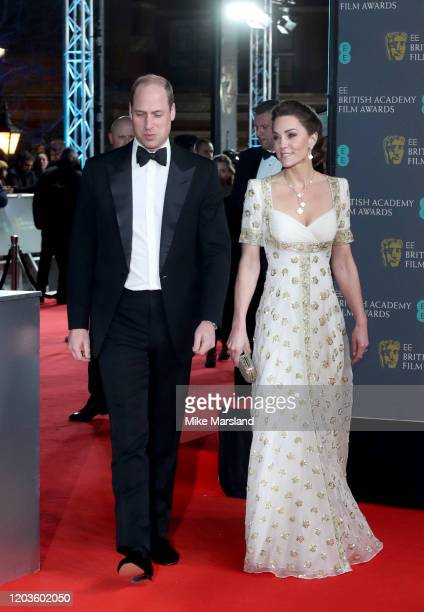 Prince William Duke of Cambridge and Catherine Duchess of Cambridge attend the EE British Academy Film Awards 2020 at Royal Albert Hall on February...