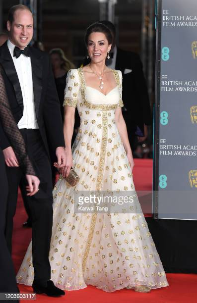 Prince William Duke of Cambridge and Catherine Duchess of Cambridge attends the EE British Academy Film Awards 2020 at Royal Albert Hall on February...