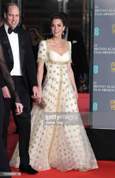 Prince William, Duke of Cambridge and Catherine, Duchess of Cambridge attends the EE British Academy Film Awards 2020 at Royal Albert Hall on...
