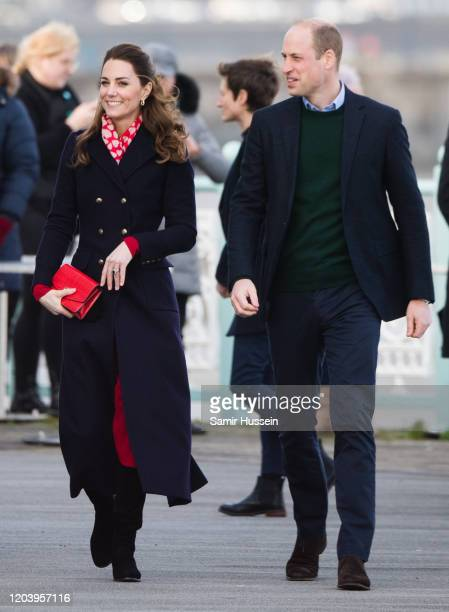 Prince William, Duke of Cambridge and Catherine, Duchess of Cambridge visit Mumbles Pier on February 04, 2020 in Swansea, Wales .