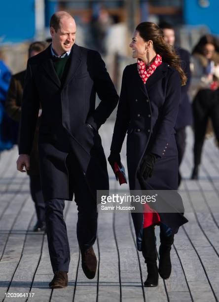 Prince William Duke of Cambridge and Catherine Duchess of Cambridge visit Mumbles Pier on February 04 2020 in Swansea Wales