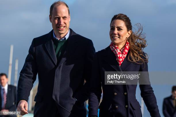 Prince William, Duke of Cambridge and Catherine, Duchess of Cambridge leave the RNLI lifeboat station on Mumbles Pier on February 4, 2020 in Swansea,...