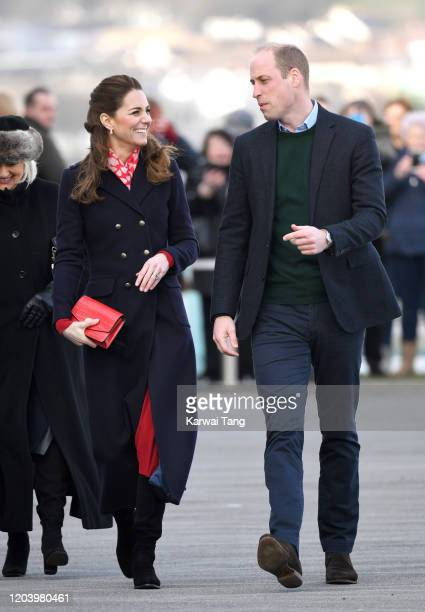 Prince William Duke of Cambridge and Catherine Duchess of Cambridge visit the Royal National Lifeboat Institution Mumbles Lifeboat station on Mumbles...