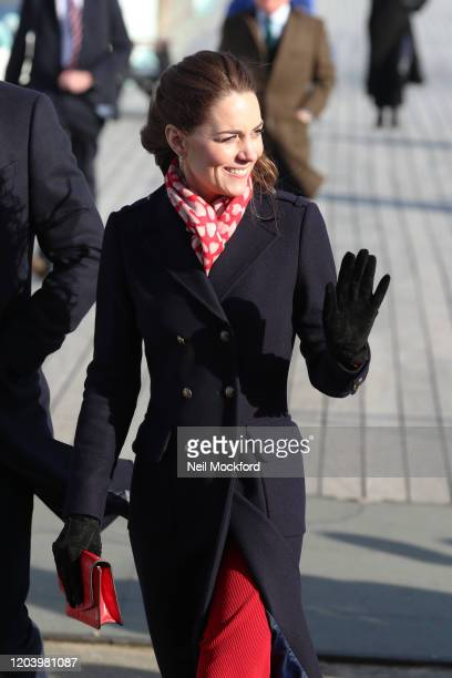 Prince William Duke of Cambridge and Catherine Duchess of Cambridge visit the RNLI Mumbles Lifeboat Station on February 04 2020 in Swansea Wales