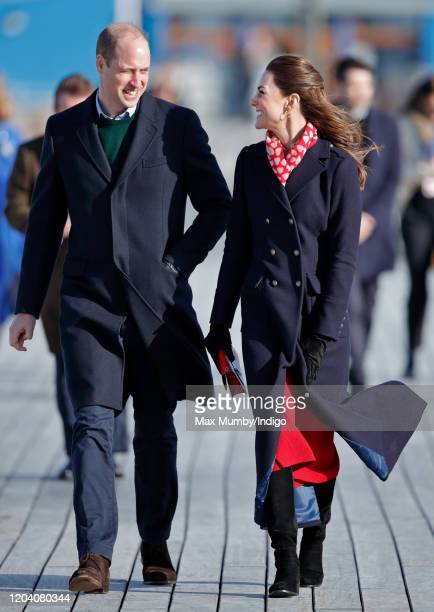 Prince William, Duke of Cambridge and Catherine, Duchess of Cambridge visit the Royal National Lifeboat Institution Mumbles Lifeboat station on...