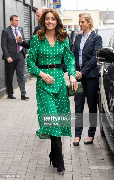 Prince William Duke of Cambridge and Catherine Duchess of Cambridge arrive to visit a familyowned traditional Irish pub in Galway city centre during...