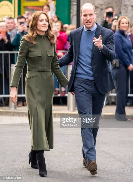 Prince William Duke of Cambridge and Catherine Duchess of Cambridge meet members of the public gathered on King Street during day three of their...