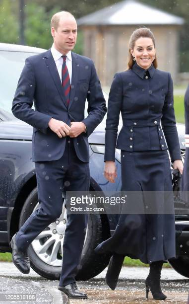 Prince William, Duke of Cambridge and Catherine, Duchess of Cambridge arrive at the Defence Medical Rehabilitation Centre, Stanford Hall on February...