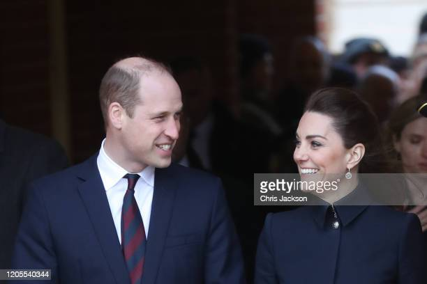 Prince William, Duke of Cambridge and Catherine, Duchess of Cambridge depart the Defence Medical Rehabilitation Centre, Stanford Hall on February 11,...
