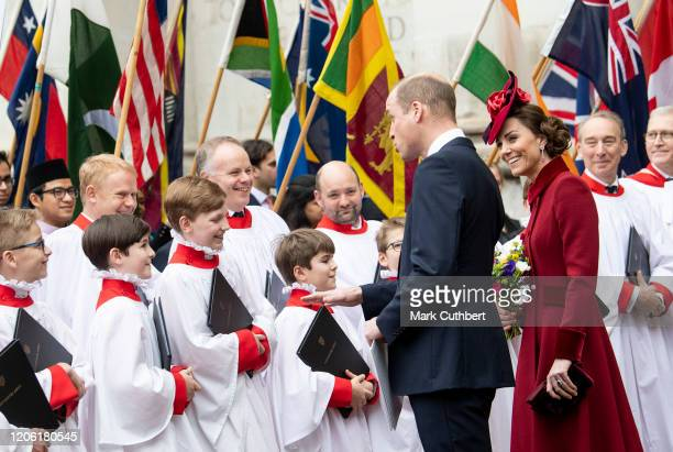 Prince William Duke of Cambridge and Catherine Duchess of Cambridge attend the Commonwealth Day Service 2020 at Westminster Abbey on March 9 2020 in...