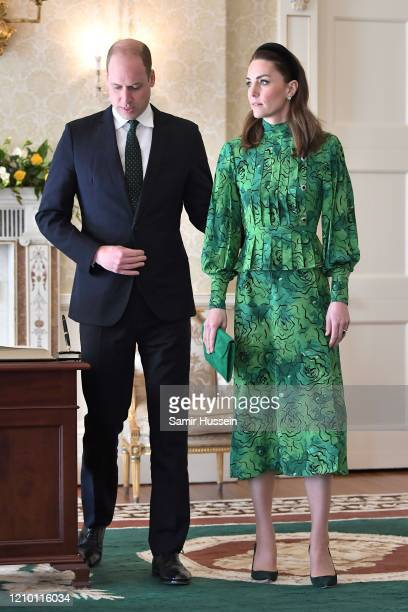 Prince William, Duke of Cambridge and Catherine, Duchess of Cambridge arrive for a meeting with the President of Ireland at Áras an Uachtaráin on...