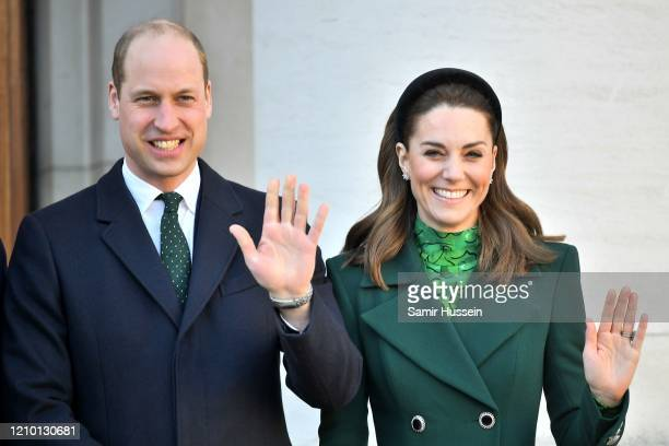 Prince William, Duke of Cambridge and Catherine, Duchess of Cambridge pose during an Official Meeting with the Taoiseach of Ireland Leo Varadkar on...