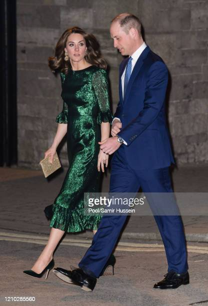 Prince William, Duke of Cambridge and Catherine, Duchess of Cambridge arrive at the Guinness Storehouse's Gravity Bar during day one of their visit...
