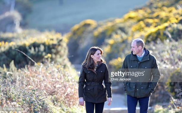 Prince William Duke of Cambridge and Catherine Duchess of Cambridge walk the cliff walk at Howth on March 04 2020 in Dublin Ireland
