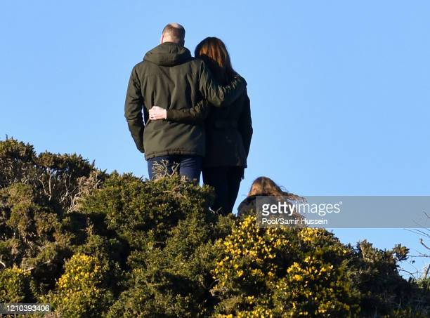 Prince William, Duke of Cambridge and Catherine, Duchess of Cambridge walk the cliff walk at Howth on March 04, 2020 in Dublin, Ireland. (