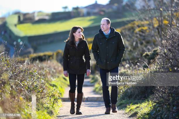 Prince William, Duke of Cambridge and Catherine, Duchess of Cambridge walk the cliff walk at Howth on March 04, 2020 in Dublin, Ireland.