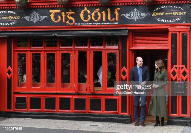 Prince William, Duke of Cambridge and Catherine, Duchess of Cambridge visit Tig Coili, a traditional Irish pub, on March 05, 2020 in Galway, Ireland.