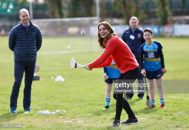 Prince William, Duke of Cambridge and Catherine, Duchess of Cambridge visit Salthill GAA club and participate in some hurling and gaelic football on...
