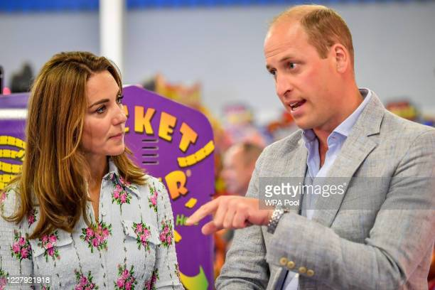 Prince William Duke of Cambridge and Catherine Duchess of Cambridge at Island Leisure Amusement Arcade where Gavin and Stacey was filmed during their...