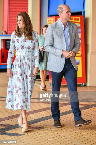 Prince William Duke of Cambridge and Catherine Duchess of Cambridge leave Island Leisure Amusement Arcade where Gavin and Stacey was filmed and walk...