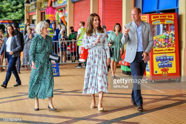 Prince William Duke of Cambridge and Catherine Duchess of Cambridge leave Island Leisure Amusement Arcade where Gavin and Stacey was filmed during...