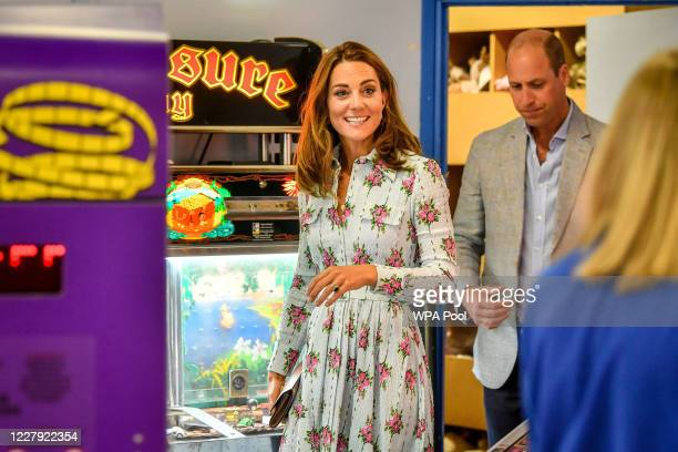 Prince William Duke of Cambridge and Catherine Duchess of Cambridge arrive at Island Leisure Amusement Arcade where Gavin and Stacey was filmed...
