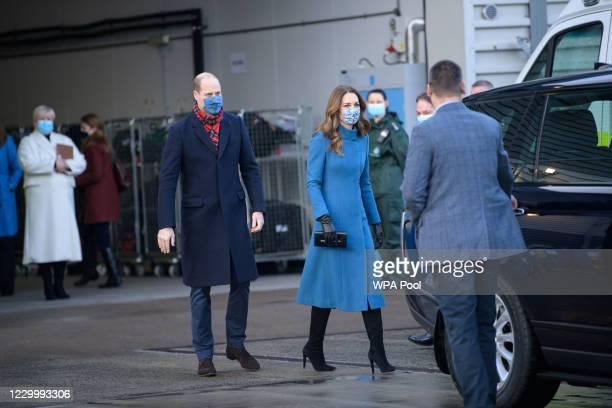 Prince William, Duke of Cambridge and Catherine, Duchess of Cambridge visit the Scottish Ambulance Service at Newbridge near Edinburgh as part of...