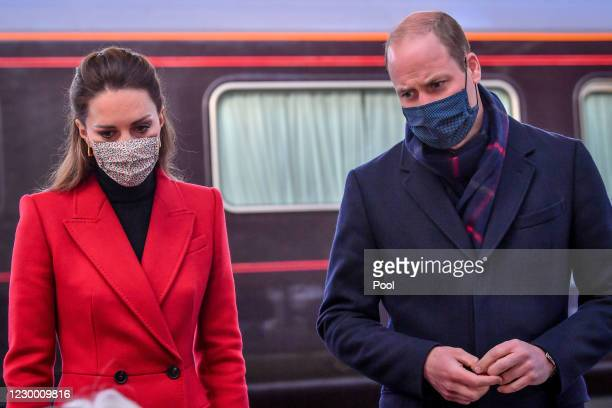 Prince William, Duke of Cambridge and Catherine, Duchess of Cambridge meet with Lord Lieutenant of Somerset Mrs Annie Maw, as they arrive at the...