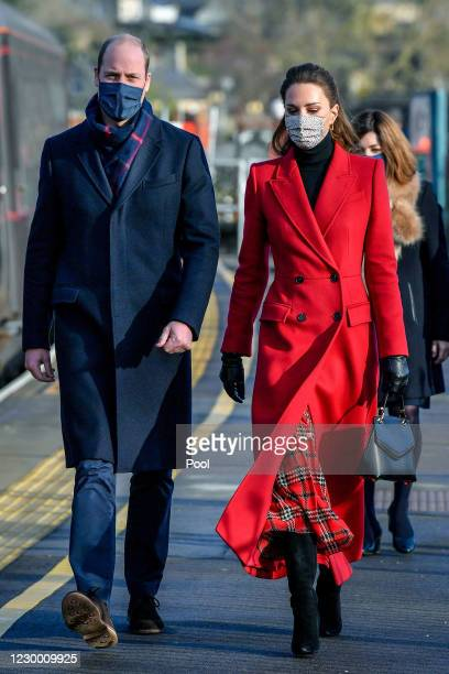 Prince William, Duke of Cambridge and Catherine, Duchess of Cambridge arrive at Bath Spa train station, ahead of a visit to a care home in the city...