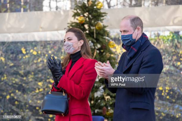 Prince William, Duke of Cambridge and Catherine, Duchess of Cambridge on a visit to Cleve Court Care Home on December 8, 2020 in Bath, England. The...