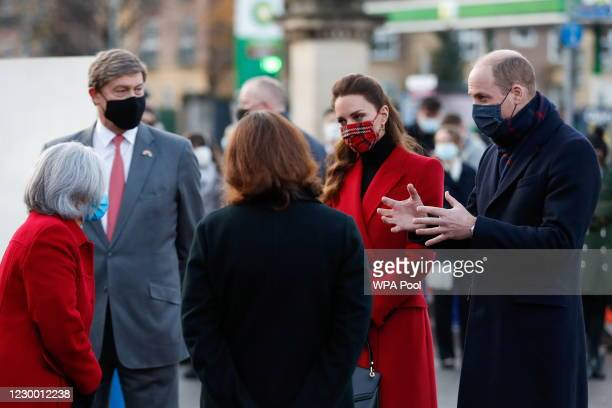 Prince William, Duke of Cambridge and Catherine, Duchess of Cambridge meet NHS staff at Royal Berkshire Hospital on December 8, 2020 in Reading,...