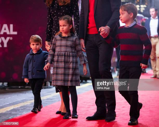 Prince William, Duke of Cambridge and Catherine, Duchess of Cambridge with their children, Prince Louis, Princess Charlotte and Prince George, attend...