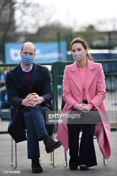 Prince William, Duke of Cambridge and Catherine, Duchess of Cambridge attend a discussion with teachers and mental health professionals during a...
