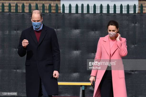 Prince William, Duke of Cambridge and Catherine, Duchess of Cambridge visit School 21 in Stratford on March 11, 2021 in London, England. The Duke and...