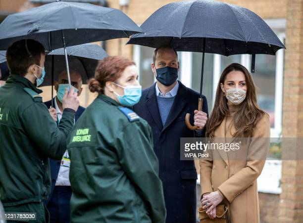 Prince William, Duke of Cambridge and Catherine, Duchess of Cambridge visit Newham ambulance station in East London on March 18, 2021 in London,...