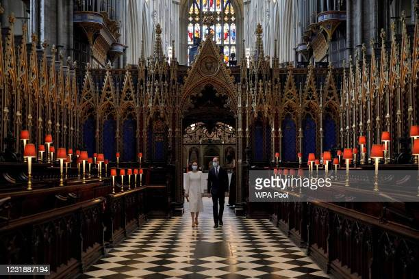 Prince William, Duke of Cambridge and Catherine, Duchess of Cambridge during a visit to the Covid-19 vaccination centre at Westminster Abbey on March...